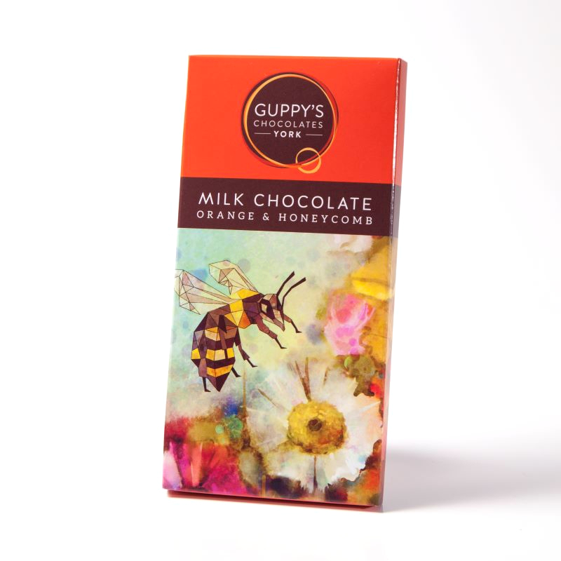 Milk Chocolate with Orange and Crunchy Honeycomb.