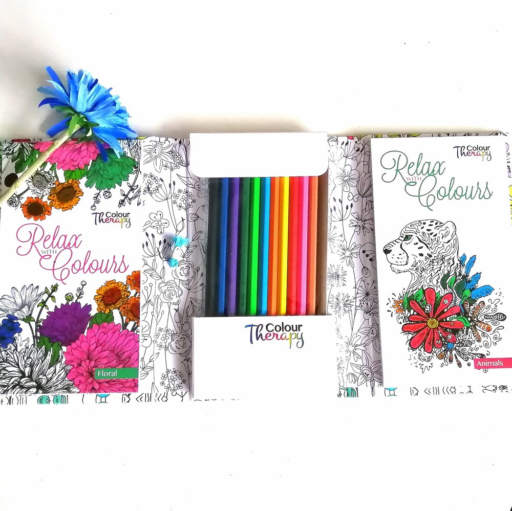 Colour Therapy Book with pencils