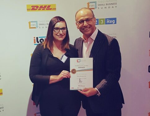 Where Bluebirds Fly- Small Business Winner 2018, Founder Laura Clarke and Dragon Theo Paphitis