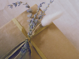 Care Package Gift Wrapped- Brown Paper with Dried Lavender and Pampas Grass