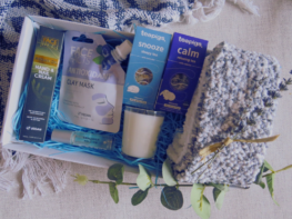 Home Spa, Pampering gift package containing socks, herbal tea, hand cream, lavender roll on and face mask- Care package delivery UK