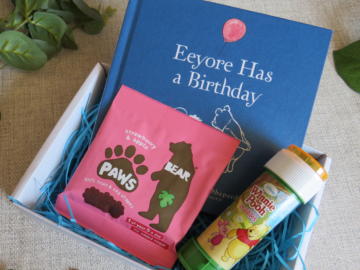 Gift Box Items, Children's book and treats care package with bubbles, fruit snack and winnie the pooh book